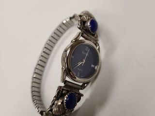 Selectime Quartz Silver and Blue Womens Watch Stamped Sterling