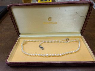 Mikimoto 20 in Graduated Uniform AB Grade Pearl Necklace 20 in with Box