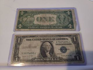 1935 Silver Certificate One Dollar with Blue Seal and Serial Stamps lot of 2