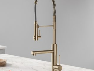KRAUS Single Handle Kitchen Faucet with Pre Rinse Sprayer and Pot Filler in Spot Free Antique Champagne Bronze  Gold