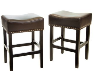 laramie Bonded leather Backless Counter stools  Set of 2  by Christopher Knight Home Retail 159 99