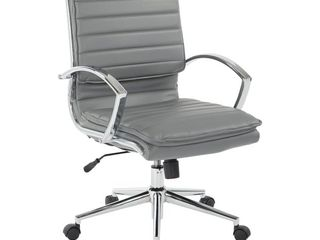 Mid Back Manager s Faux leather Chair With Chrome Base Charcoal Black   OSP Home Furnishings