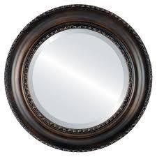 Somerset Framed Round Mirror in Rubbed Bronze