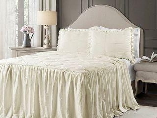 King 3pc Ravello Pintuck Ruffle Skirt Bedspread  amp  Sham Set Ivory