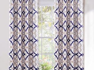 DriftAway Alexander Thermal Blackout Grommet Unlined Window Curtains  Spiral Geo Trellis Pattern  Set Two Panels