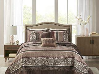 Madison Park Dartmouth Red 5 piece Jacquard Bedspread Set   King Retail 126 64