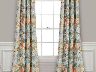 Sydney Room Darkening Window Curtain Panels Blue Green Set 52x84