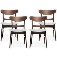 light Beige Parlin Mid Century Modern Transitional 4 Piece Dining Chair Set