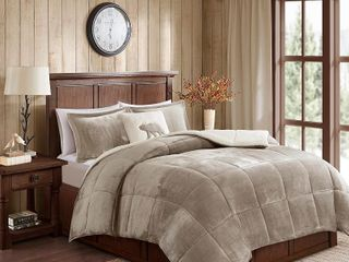Woolrich Alton Plush to Sherpa Down Alternative Comforter Set   Full Queen   Retail 89 98