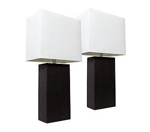 Modern leather Table lamp   2 Pack   Black