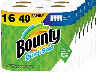 Bounty Quicker Picker Upper Paper Towels  16 Family Rolls