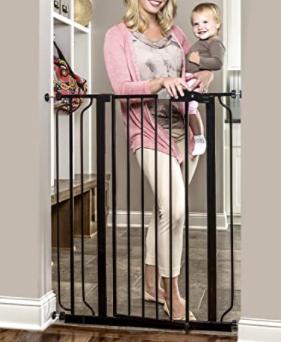Regalo Easy Step Extra Tall   Metal Walk Through Safety Gate   Black
