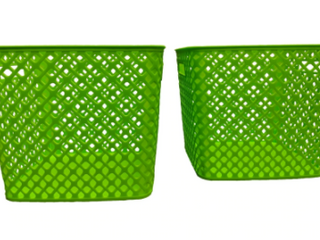 Square Deco Basket  2 Pack   lime Green