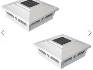 6x6 White Aluminum Oxford Solar Post Cap  Set of 2