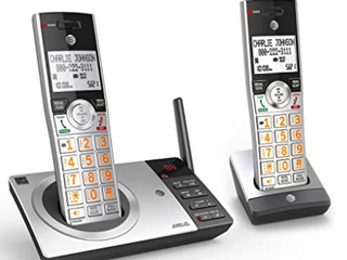 AT T DECT 6 0 Digital Cordless 2 Handsets Built In Answering Machine Answering System Silver