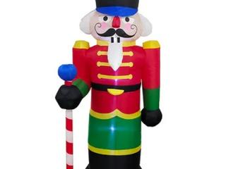 Multi   Polyester  AlEKO lED Christmas Inflatable Nutcracker   8 foot