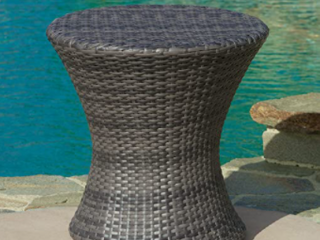 Grey   Adriana Outdoor Boho Wicker Accent Table by Christopher Knight Home   Retail 95 99