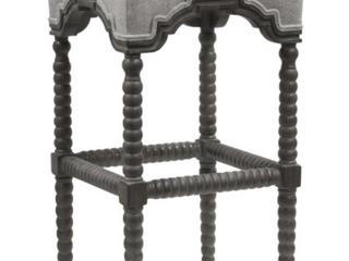 Harp   Finial Inwood Waldo Beach Tweed Fabric Barstool   Weathered Gray Wood Frame  Retail 298 49