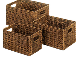 Ombre Wooden Pantry Basket 12  x 16  x 6    Brown Ombre   Set of Three