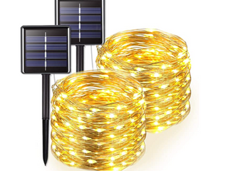 warm white     200 lED Solar powered Outdoor String Fairy lights