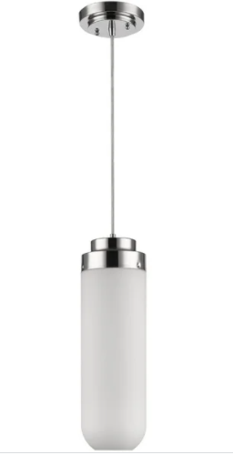 Solar 1 light Polished Nicke lPendant With 18  h Frosted Glass Shade