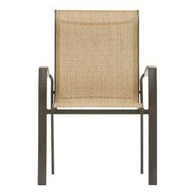 Garden Treasures Pelham Bay Stackable Steel Dining Chair with Tan Sling Seat   Set of Two