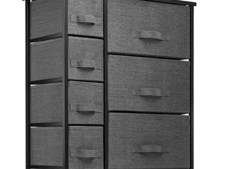 7 Drawer Dresser Storage Tower  Black Frame  Charcoal Drawer