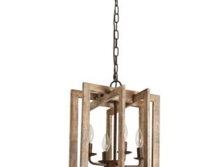 Weathered Wood   4 light Modern Farmhouse Rectangular Wood Chandelier   Retail 209 99