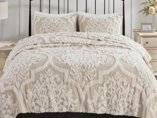 Madison Park Aeriela Tufted Cotton Chenille Damask Coverlet Set  Retail 99 98