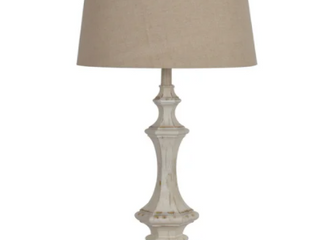 Wooden Column White Wash 34 inch Table lamp  Retail 229 90