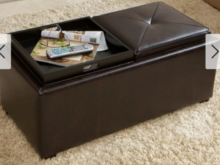 Maxwell Brown Bonded leather Double Tray Ottoman by Christopher Knight Home   Retail 226 00