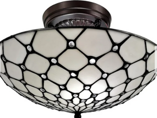 White   Tiffany Style Ceiling Fixture lamp Jeweled 17  Wide Stained Glass   Retail 145 99