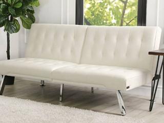 Abbyson Jackson Ivory Faux leather Foldable Futon Sofa Bed  Retail 293 49