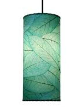Handmade Cocoa leaf Cylinder Pendant light   Sea Blue