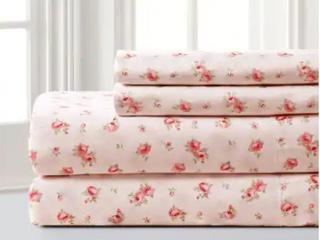 Blush   Queen Modern Threads Sweet Rose Printed 4 piece Bed Sheet Set
