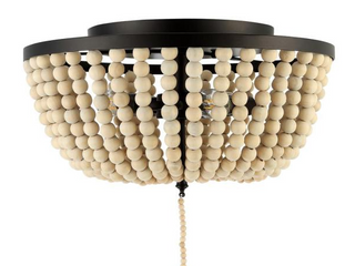 Oil Rubbed Bronze Allison 15 Wood Beaded Metal lED Flush Mount by JONATHAN Y Retail  127 05   Retail 127 05