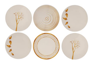 Melange 6 Piece Melamine Dinner Plate Set  Gold Nature Collection