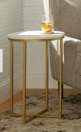 Silver Orchid Helbling Modern Round Side Table   Retail 75 48