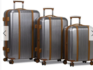Deluxe 3 Piece Hardside Spinner luggage Silver