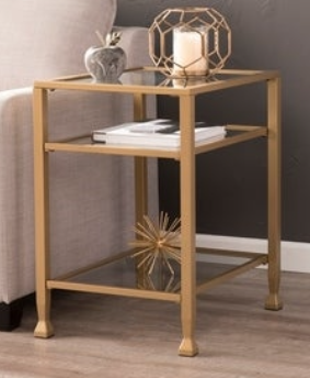 Silver Orchid Price White Metal  Glass End Table