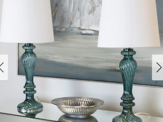 Porch   Den Regina Turquoise Glass 25 5 inch Table lamp W  White linen Drum Shade  Retail 75 98