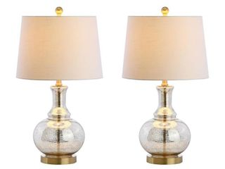 lavelle 25  Glass lED Table lamp  Mercury Silver Brass Gold  Set of 2  by JONATHAN Y  Retail 131 49