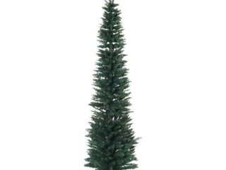 7  PVC Unlit Slim Pencil Hinged Artificial Noble Fir Christmas Tree  390 Branch Tips  Stand  Green