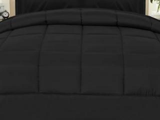 King   Black     Plush Solid Color Box Stitch Down Alternative Comforter