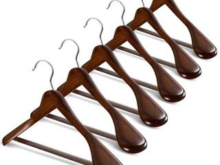 Extra Wide Shoulder Wooden Hangers Heavy Duty Coat Hanger   Set of 6