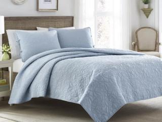 laura Ashley Felicity Baby Blue Cotton 3 piece Quilt Set  Retail 121 98