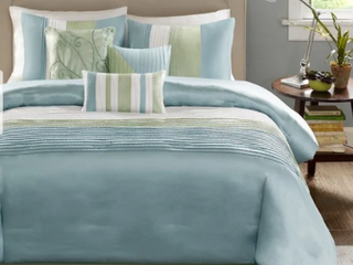 Madison Park Chester Green  Blue 7 piece Comforter Set  Retail 105 49