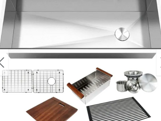 42 in  Stainless Steel All IN ONE Workstation 16 Gauge Undermount Single Bowl Kitchen Sink w  Build in ledge and Accessories   Retail 514 99