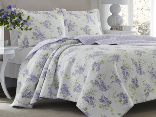 laura Ashley Keighley lilac Cotton 3 piece Quilt Set  Retail 128 97