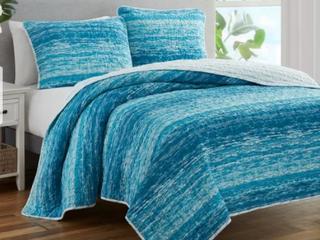 King  Ocean Stripe Coastal Blue 3 Piece Prewashed Reversible Quilt Set